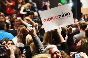Marco Rubio watch party in Columbia, South Carolina at 807 Bluff Road on Saturday, February 20th. The crowd goes wild as Rubio pulls ahead to second place in the polls behind Trump. Fans turn and wave to the cameras as they are on live TV in the moment.