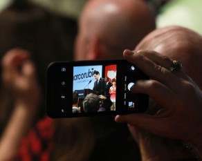 Marco Rubio watch party in Columbia, South Carolina at 807 Bluff Road on Saturday, February 20th. Rubio supporter films his speech on her phone as Rubio gives speaks about the results of the South Carolina primaries at his watch party on Saturday night.