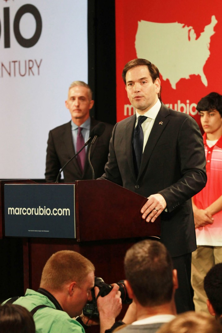 Marco Rubio watch party in Columbia, South Carolina at 807 Bluff Road on Saturday, February 20th. Republican candidate Marco Rubio speaking to his South Carolina supporters on Saturday night about the South Carolina primary results. Senator Trey Gowdy and Nikki Haley's son Nalin Haley are listening in the background.